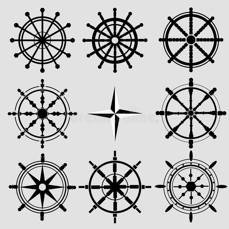 Vector rudder black and white flat icons set. Rudder wheel illus stock illustration