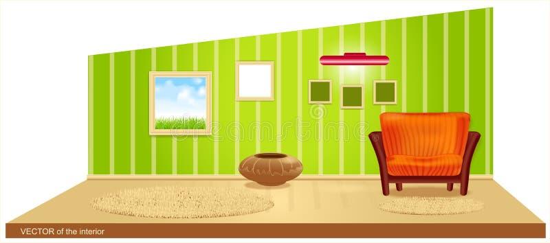 Vector ruimte met groen behang stock illustratie