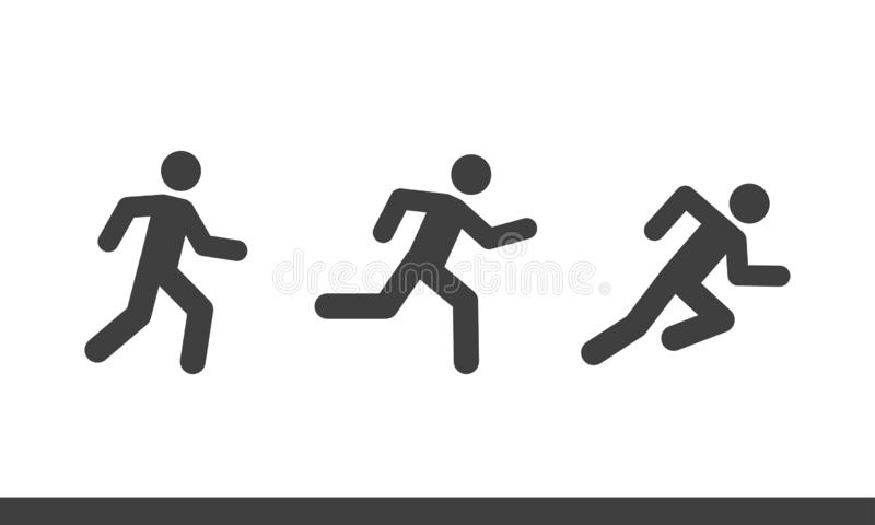 Vector run man icon set. Vector illustration of stick man run icon eps 10 on white background royalty free illustration