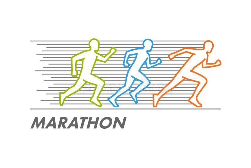 Vector run and marathon logo stock illustration