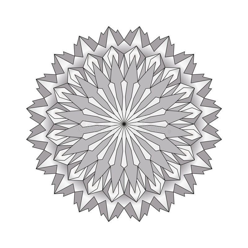 vector runde einfache Mandala des Grayscale - erwachsene Malbuchseite vektor abbildung