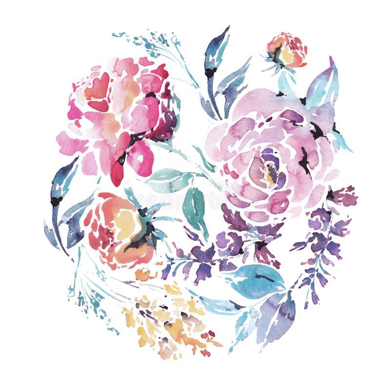 Vector runden mit Blumenrahmen des Aquarells von roten Rosen lizenzfreie abbildung