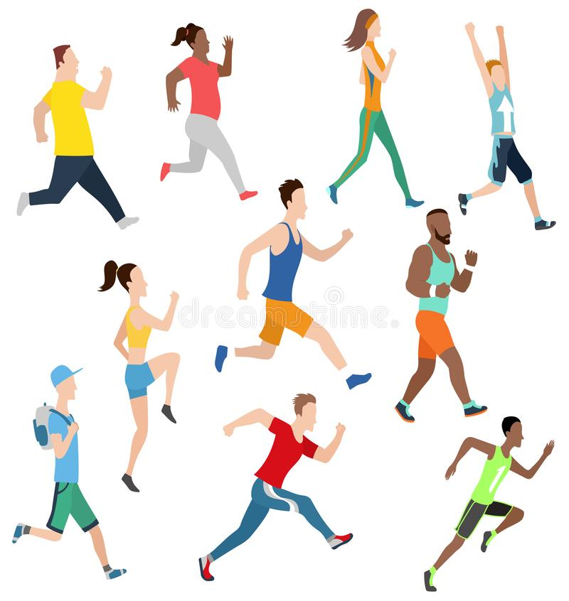 Vector running man and women in flat design style. Sport. Run. Active fitness. Exercise and athlete. Variety of sport movements. Flat cartoon style. Side view royalty free illustration