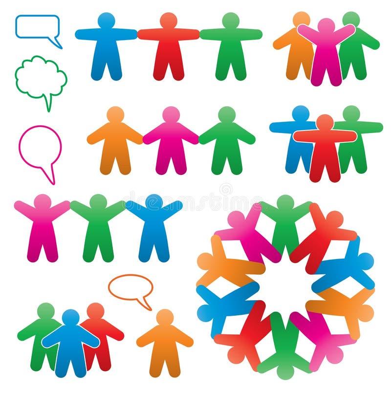 vector símbolos coloridos do ser humano e do discurso ilustração royalty free