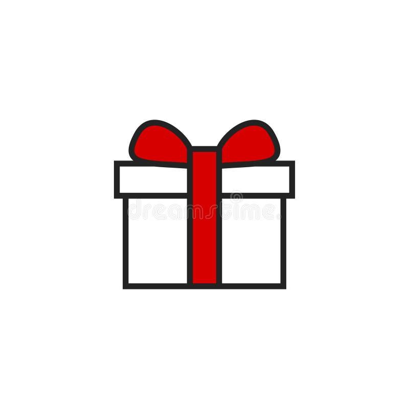 Vector, s?mbolo o logotipo plano del icono de la caja de regalo stock de ilustración