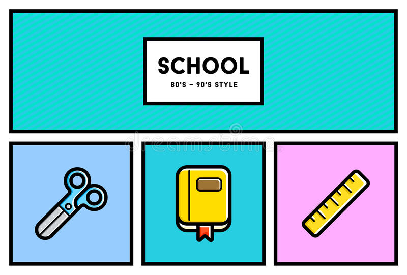 Vector 80's or 90's Stylish School Education Icon Set with Retro. Colors royalty free illustration