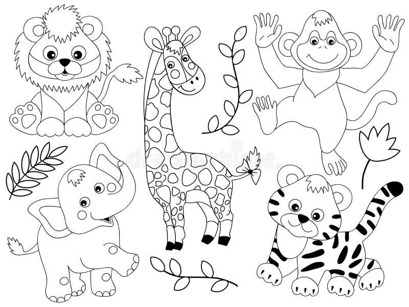 Line Art Jungle : Vector safari animals stock illustration of cute