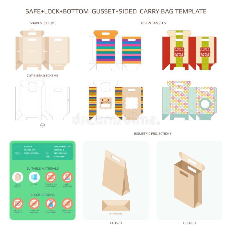 Vector safe lock bottom carry bag templates set.  royalty free illustration