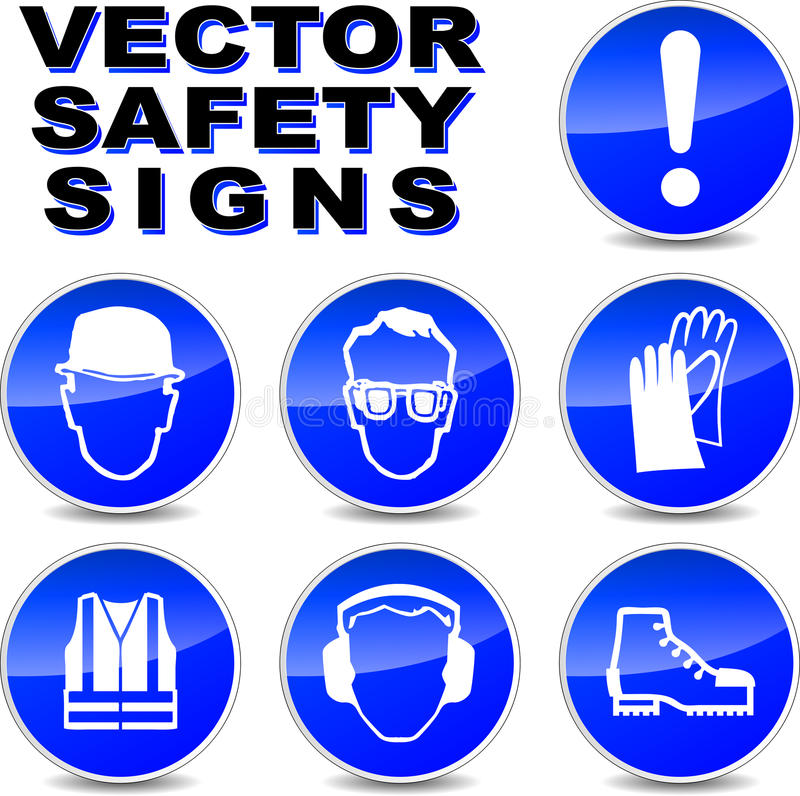 Vector safety signs stock illustration