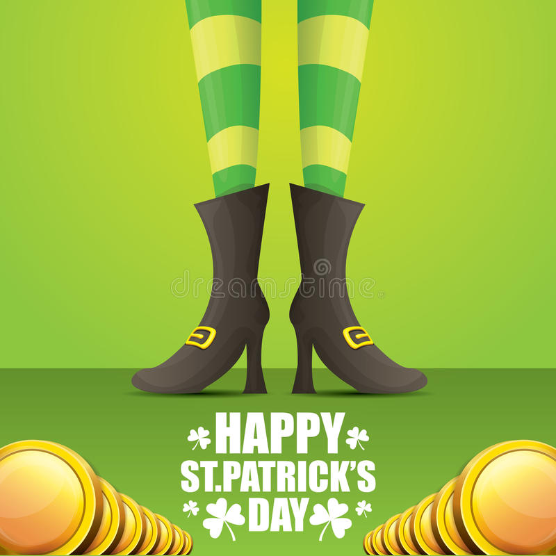Vector saint patrick day background. Vector creative saint patrick day greeting card with cartoon leprechaun girls legs with green stripped stocking and greeting vector illustration