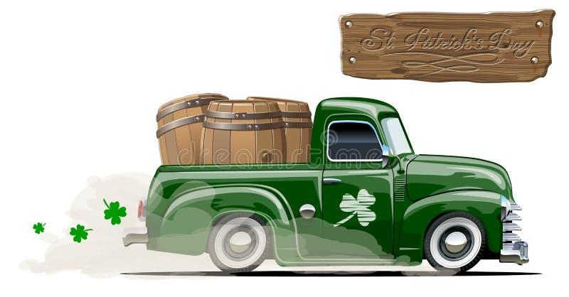 Vector Saint Patrick`s retro cartoon beer pick-up royalty free illustration