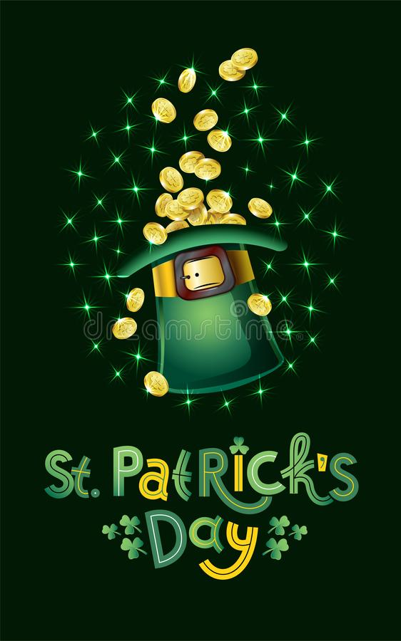 Vector Saint Patricks Day Card, hat full of golden coins, treasure of Leprechaun. Lettering text Happy St Patricks Day stock illustration