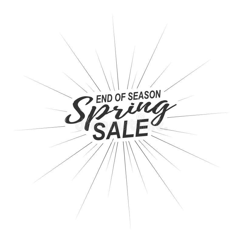 Vector Saisonendefrühlings-Verkaufsaufschrift mit den Strahlen der Explosion lokalisiert auf weißem Hintergrund stock abbildung