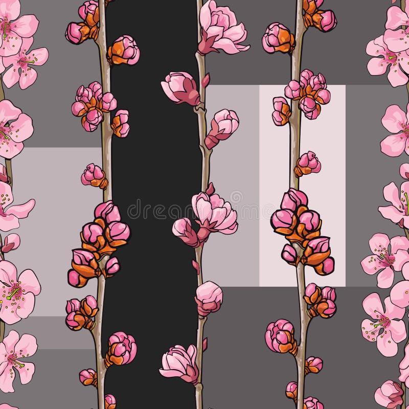 Vector Sakura dibujado mano, modelo inconsútil de la cereza stock de ilustración