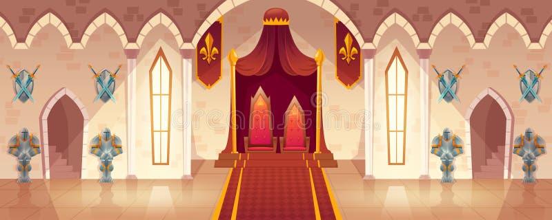 Vector a sala do trono no palácio medieval, salão do castelo ilustração royalty free