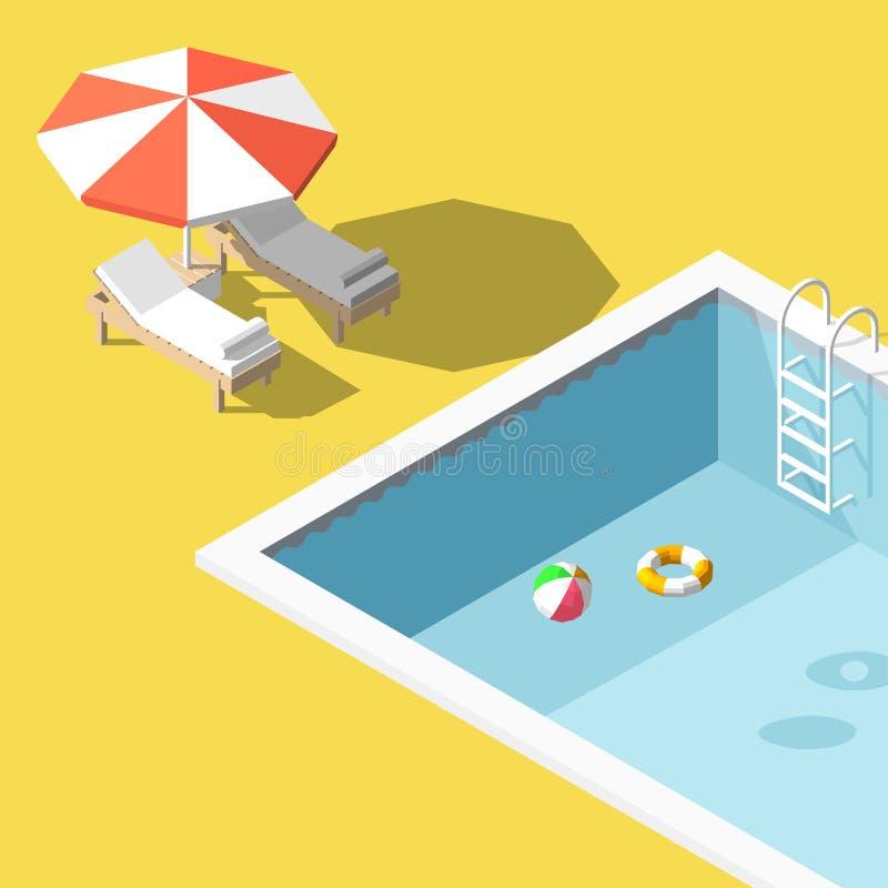 Vector salas de estar polis isométricas do chaise da ilustração baixas na piscina ilustração do vetor