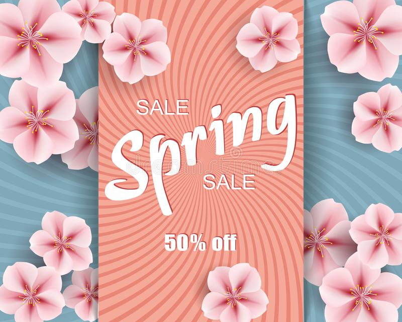 Vector sale ad mockup of banner beautiful spring pink flowers on color background, layout for flyer, illustration for design royalty free illustration