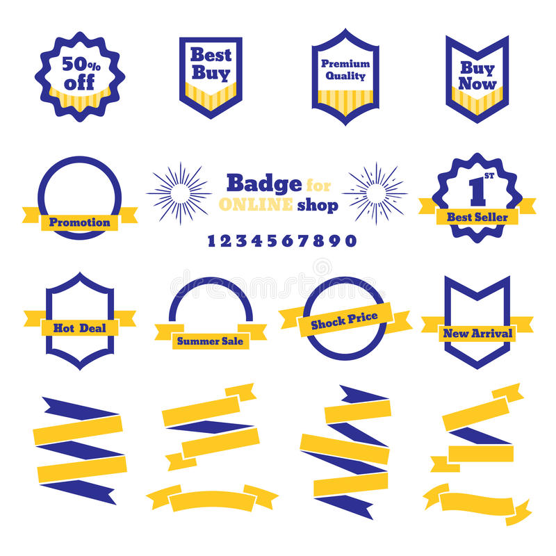 Vector : Sale Badge and ribbon for online shop ,business banner stock illustration