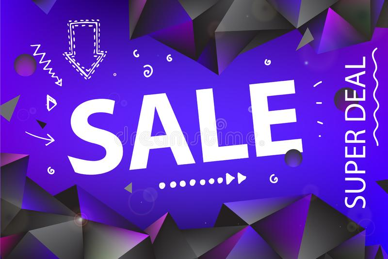 Vector sale banner, poster with hand drawn doodle elements. 3d origami facet shapes promo posters royalty free illustration