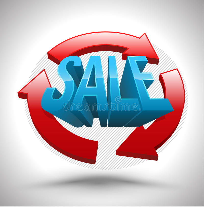 Vector SALE with circle three arrows 3D style. stock illustration