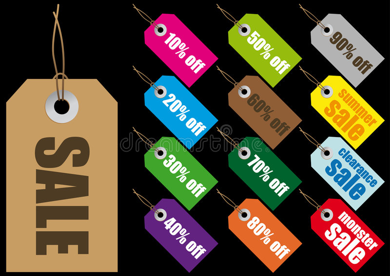 Vector sale labels. Abstract vector illustration of paper sale labels
