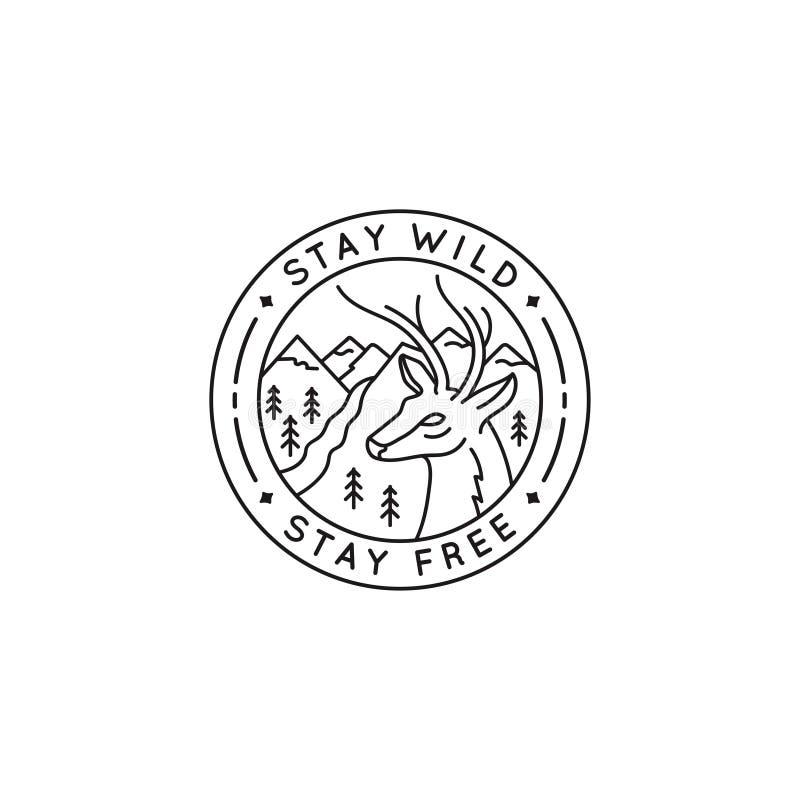 Vector salvaje de la estancia del logotipo de la insignia ilustración del vector