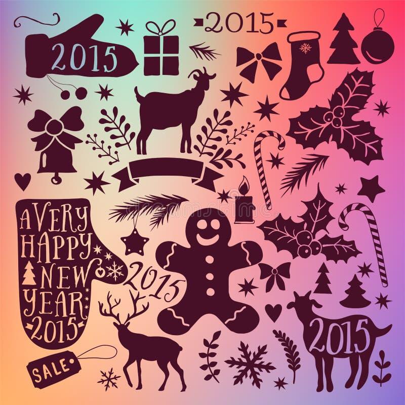 Vector Sammlung der frohen Weihnachten, Bündelikonen des neuen Jahres, Gekritzelelement für Weihnachtsdesign Satz des Winterurlau lizenzfreie abbildung