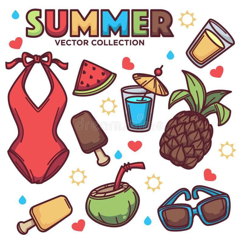 Vector Sammlung der tropischen Linie Kunst des Sommers einwendet, Blätter, Blumen, Kleidung, Getränke für Ihr Design stock abbildung