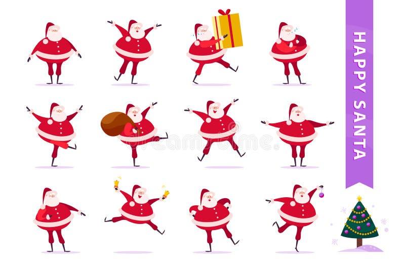 Vector Sammlung flache lustige Santa Claus-Charaktere, die auf weißem Hintergrund lokalisiert werden stock abbildung