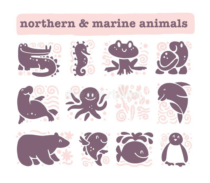 Vector Sammlung flache nette Tierikonen, die auf weißem Hintergrund lokalisiert werden lizenzfreie abbildung