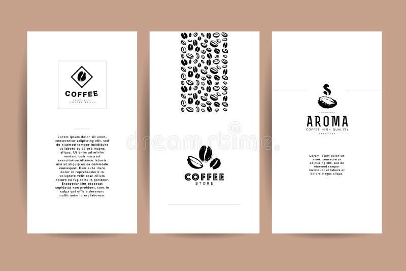Vector Sammlung künstlerische Karten mit Kaffeeemblemen u. -logo, Hand gezeichnete Kaffeebohnen u. Samen, Beschaffenheiten u. Mus stock abbildung