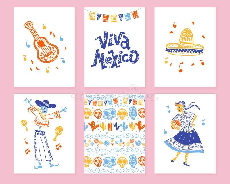 Vector Sammlung Karten mit traditioneller Dekoration für Mexiko-Tagestote Partei, Feier dia de Los Muertos vektor abbildung