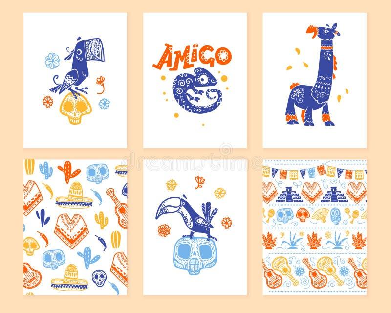 Vector Sammlung Karten mit traditioneller Dekoration für Mexiko-Tagestote Partei, Feier dia de Los Muertos im flachen Handabgehob vektor abbildung