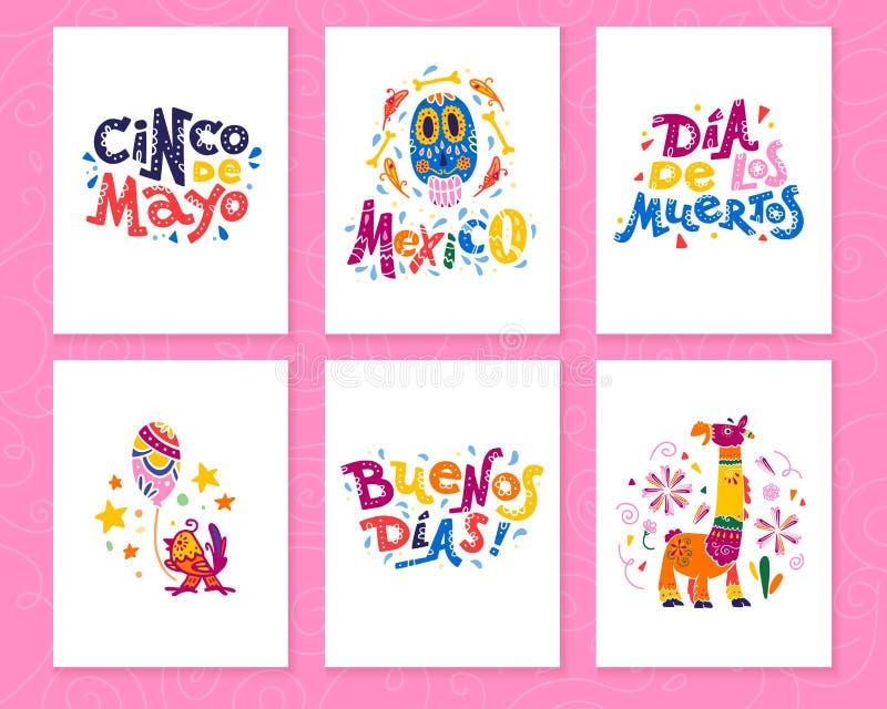Vector Sammlung Karten mit traditioneller Dekoration Mexiko-Partei, Karneval, Feier, Fiestaereignis in flache Hand gezeichneter A lizenzfreie abbildung