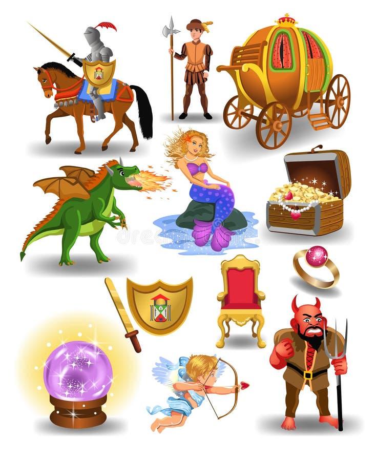 Vector Sammlung Märchenikonen und -charaktere wie Meerjungfrau, Drachen, Ritter und Glaskugel lizenzfreie abbildung