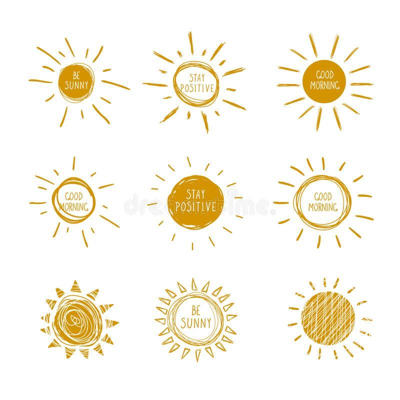 Vector Sammlung von Doodle Hand Drawn Sun Icons mit handgeschriebenen Worten, sei sonnig, guten Morgen, bleibe positiv vektor abbildung