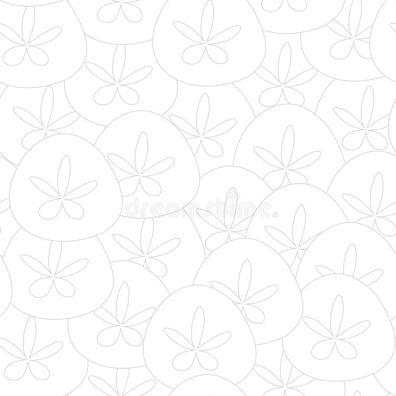Vector Sand Dollar Seashells in White Texture Seamless Repeat Pattern vector illustration