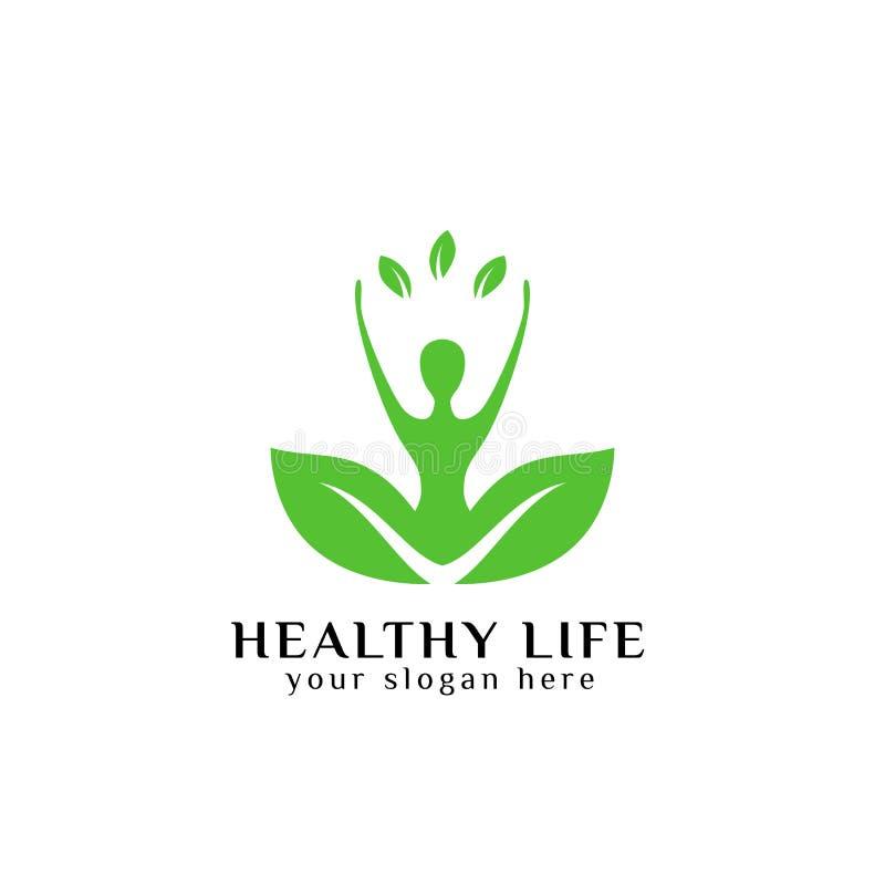 Vector sano del diseño del logotipo de la vida en color verde ser humano en hoja verde libre illustration