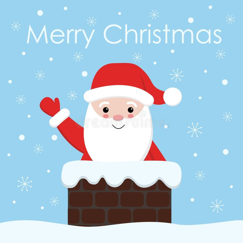 Santa claus with a bell in chimney. Christmas and new year santa illustration. royalty free illustration