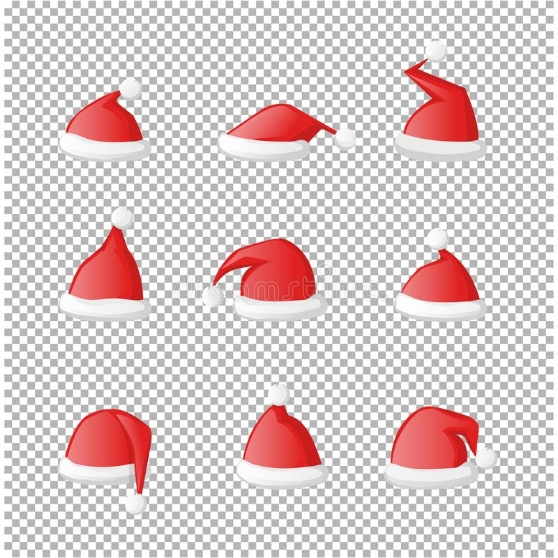 Vector Santa Claus red hat set icon isolated vector illustration