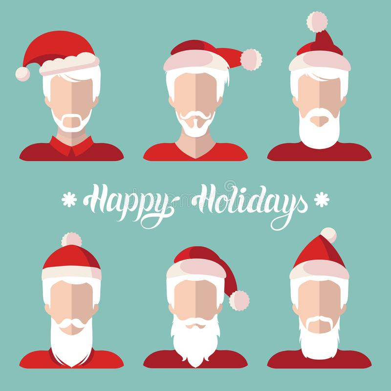 Vector Santa Clauses app icons set in flat style.Xmas illustration with Happy Holidays lettering.New Year greeting card. stock illustration
