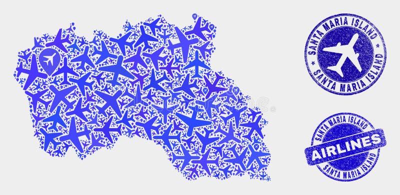 Vector Santa Maria Island Map de la composición de los aviones y sellos del Grunge stock de ilustración