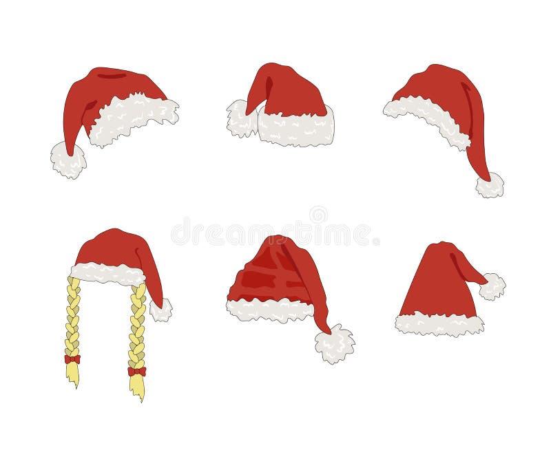 Vector Santas Fluffy Hat, julfirande, Festive Decorative Element, Clip Art Templates vektor illustrationer