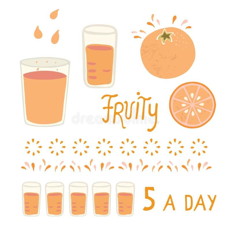 Vector sappig oranje citrusvruchtengeheel en plak met glas stock illustratie