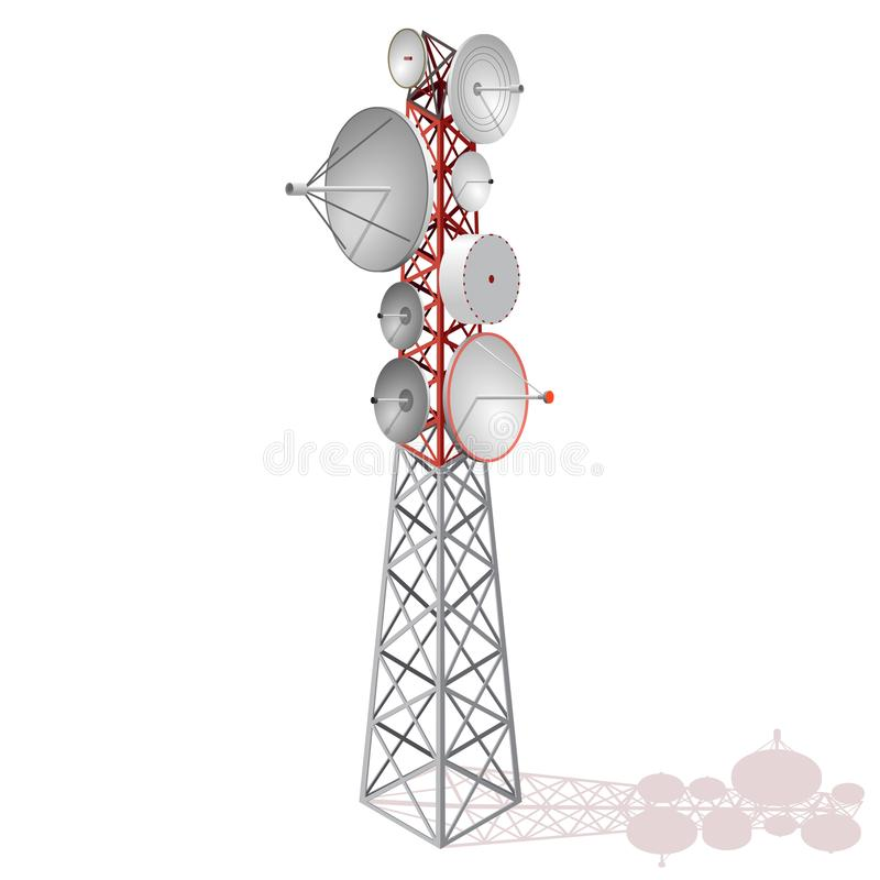 Vector satellite tower in isometric perspective isolated on white background. royalty free illustration
