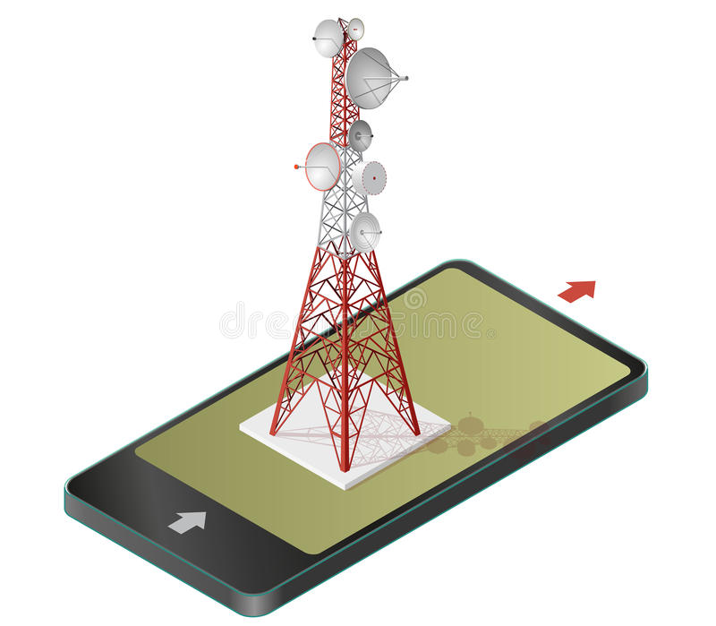 Vector satellite tower in mobile phone, transmission isometric tower. Vector satellite tower in mobile phone, transmission tower. Telephone and television vector illustration