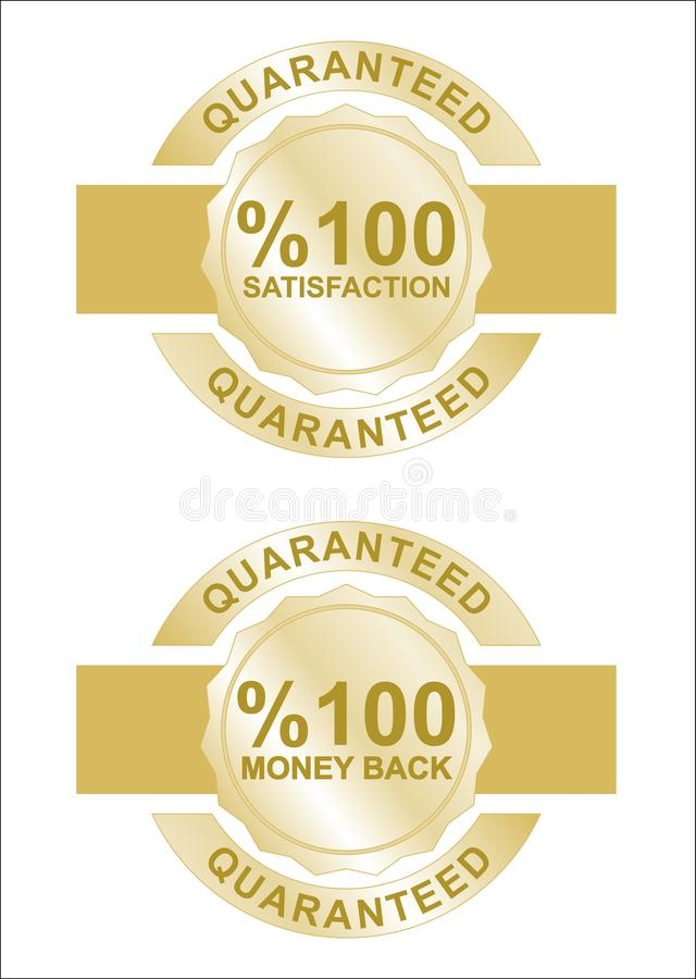 Vector satisfaction and money back labels royalty free illustration