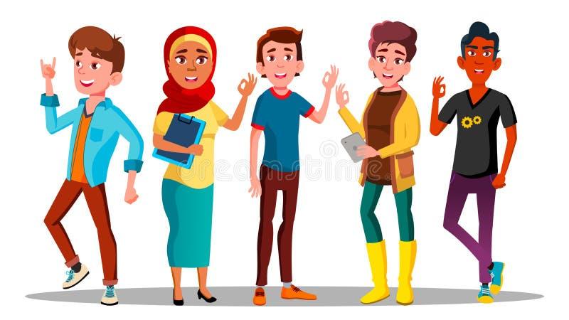 Vector satisfecho gente de los caracteres de Mulicultural ilustración del vector