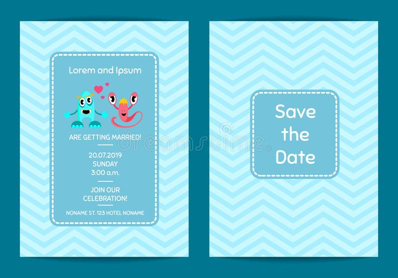 Vector save the date wedding invitation template with cute monster download vector save the date wedding invitation template with cute monster couple on zigzag background stock stopboris Choice Image