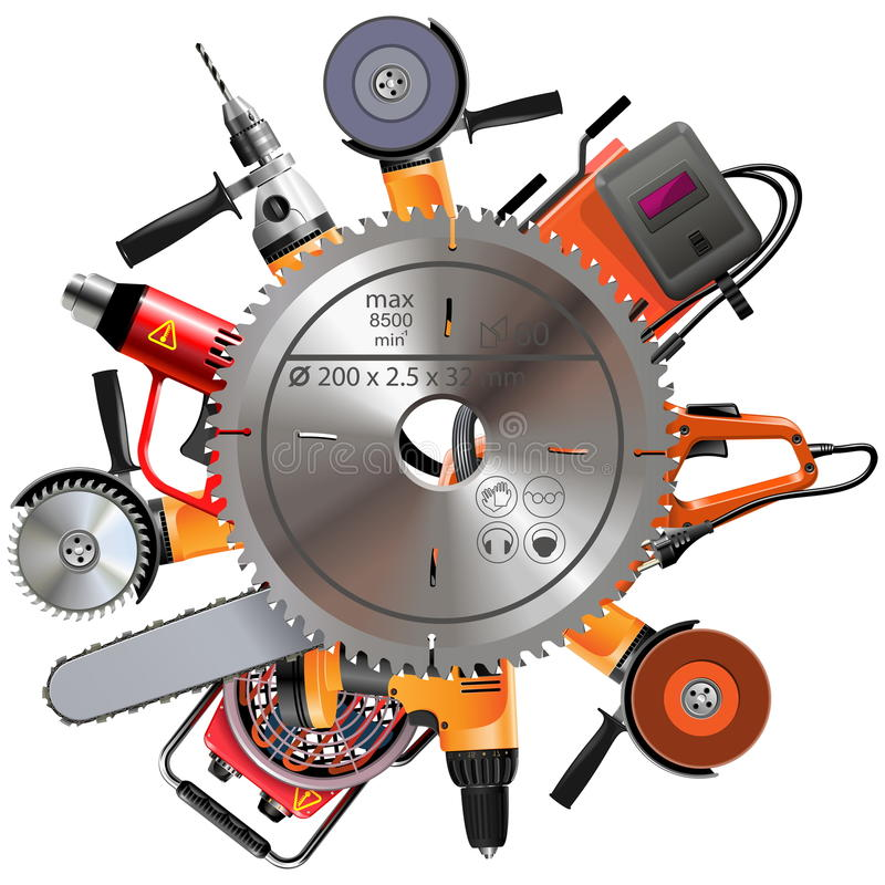 Vector Saw with Power Tools vector illustration
